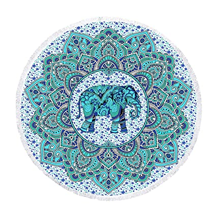 Zeronal Beach Throw Elephant Picnic Blanket Yoga Mat Indian Beach Towel Round Roundie Tapestry Mandala Wall Hanging Hippie Bohemian Dorm Decor