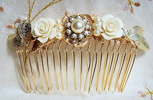 Bridal Jewelry Bridal Hair Comb Golden Hair Comb Wedding Hair Accessories Vintage Style bridal hair accessories Bridesmaids Gifts