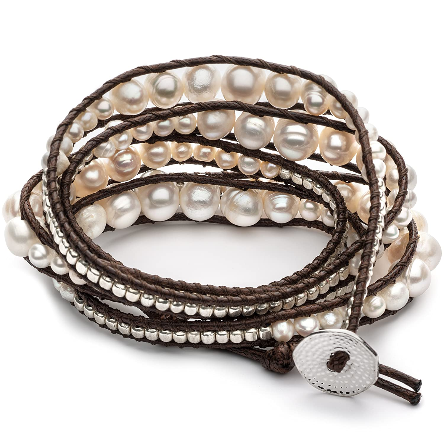 GingerBird Jewelry Marshmallow Wrap Women s Freshwater Cultured Pearls Handmade Bracelet. 32 Inches