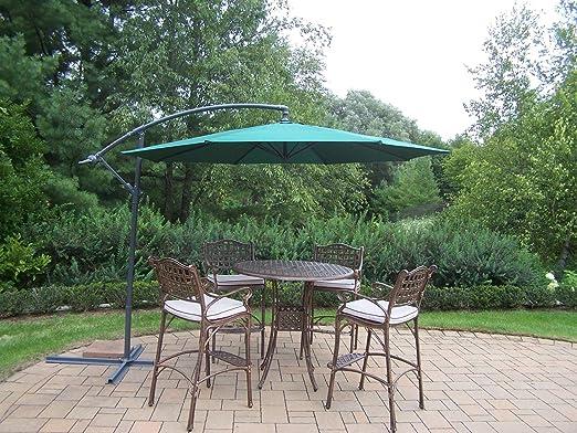 Oakland Living Elite Barra de 5 piezas de aluminio fundido con aplanadora de mesa, cojines y 10 pies paraguas voladizo), color verde: Amazon.es: Jardín