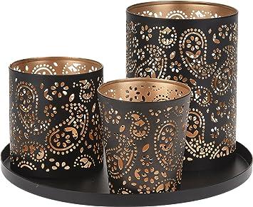Amazon De 4tlg Teelichthalter Set Tablett Weihnachten Kerze