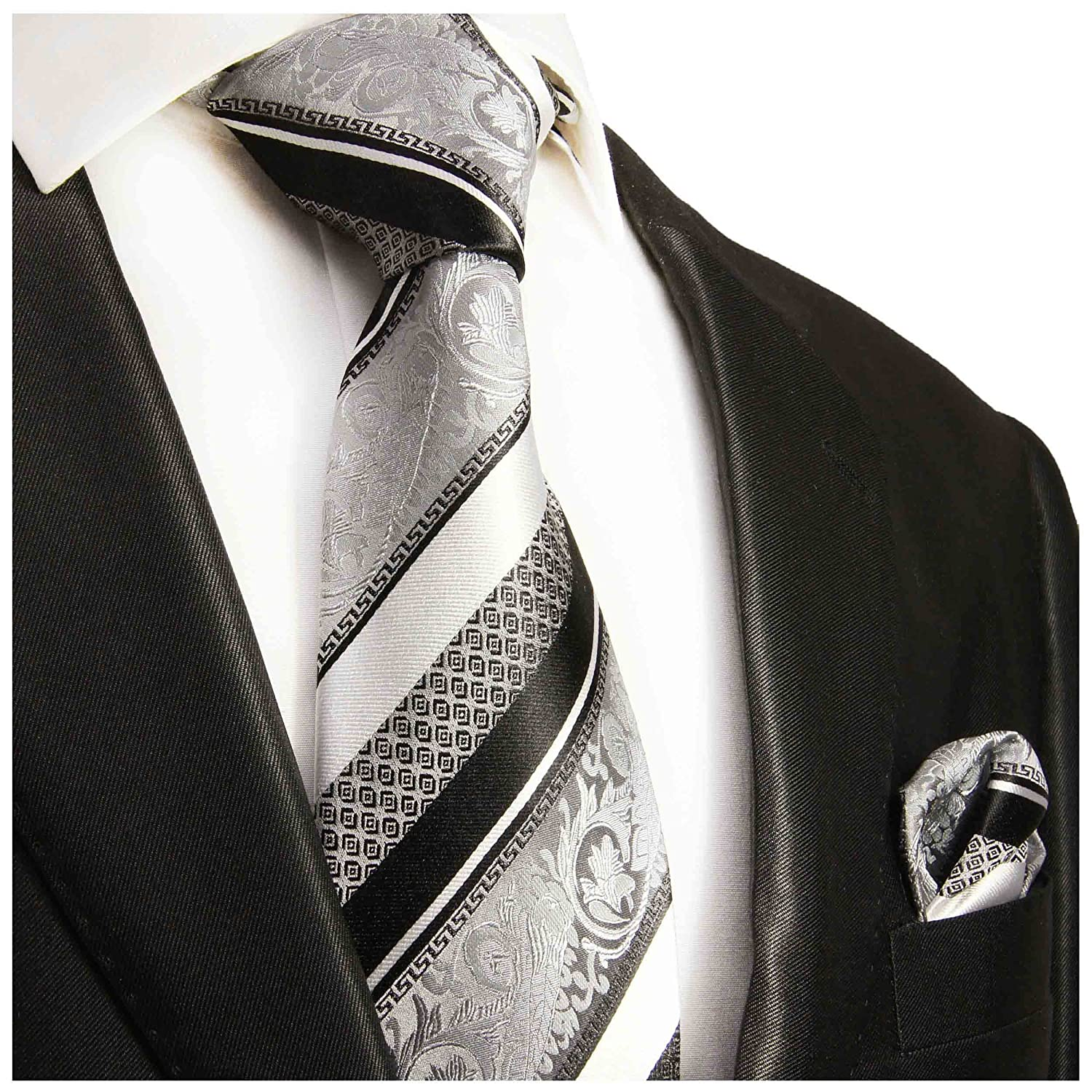 Silver and Black Silk Tie and Pocket Square . Paul Malone Red Line