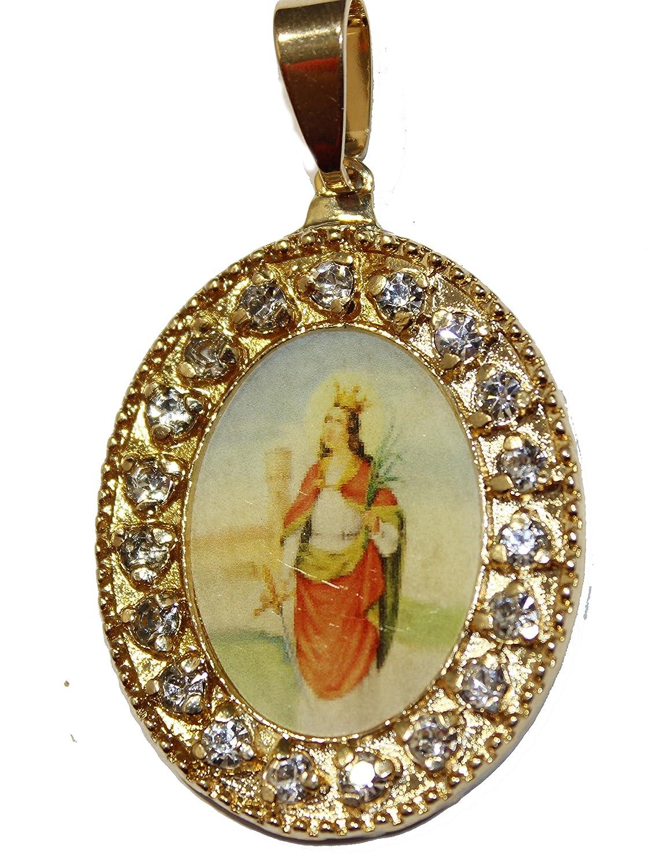 Santa Barbara Cuba medalla–Sta. Barbara Medalla de Cuba medalla de 18K chapado en oro con cadena de 24pulgadas Zokko 3673835