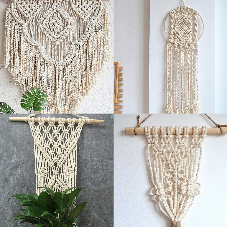 manualidades REKALRO Cord/ón de macram/é de 200 x 3 mm,Natural Cord/ón Macram/é, para macram/é bohemio para colgar en la pared decoraciones hechas a mano colgar plantas