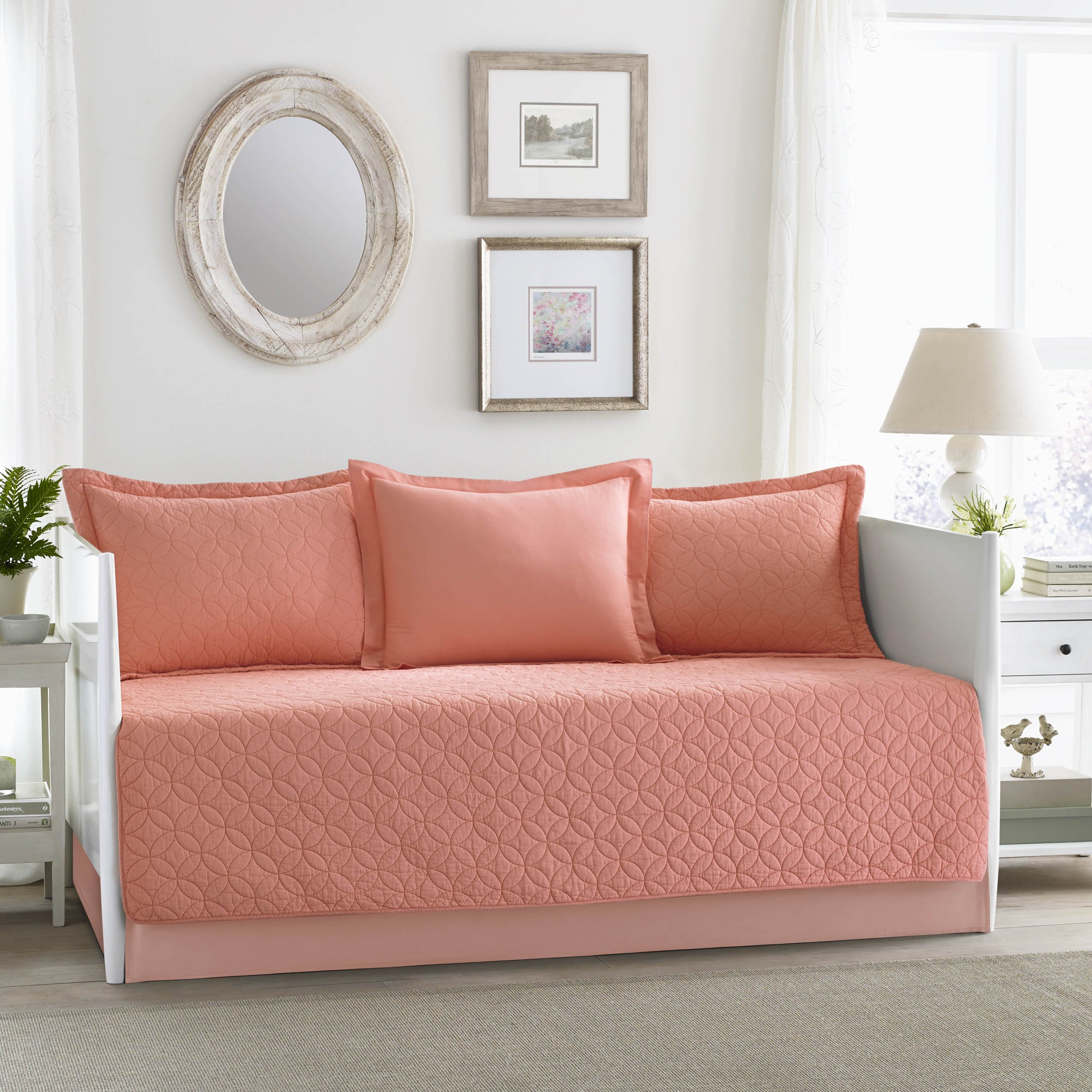 Laura Ashley USHSFK1029569 Solid Daybed Cover Set, Twin, Coral