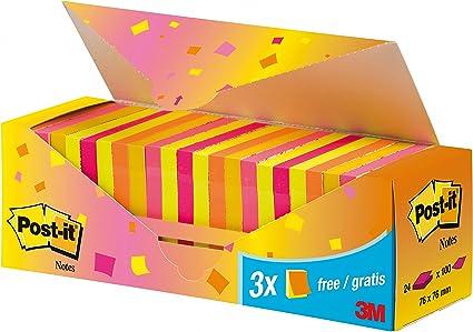Post-it Pack-caja 24 Blocs Notas 654 Neón. Colores surtidos: rosa ...