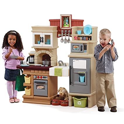 Step2 Heart Of The Home Kitchen Large Play Kitchen With Play Food Over 40 Kitchen Accessory Toys Included
