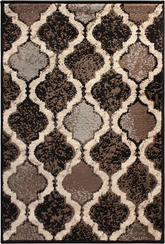 SUPERIOR Gudrun Indoor Area Rug, Super Soft, Durable, Elegant, Geometric, Trellis Pattern, Mid-Century, Contemporary, Jute Backing, Chocolate, 2' x 3' Rug