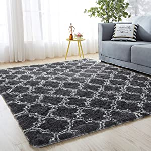 SHANNA Area Rug, Ultra Soft Velvet Living Room Rugs for Bedroom Nursery Home Decor, Non Skid Modern Moroccan Indoor Plush Ffuffy Rug Comfy Carpet - Geometric Grey