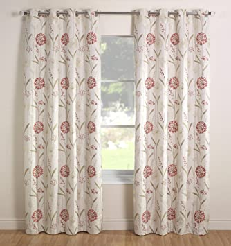 Julian Charles 90 x 72-Inch Santorini Lined Curtains, Coral ...