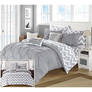 Amazon Com 4 Piece Grey Chevron Comforter Full Queen Set