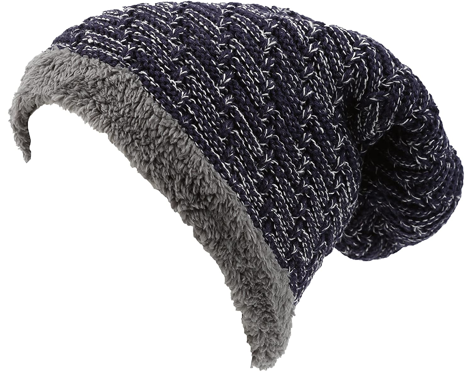d46dd9f7023 Sakkas 16142 - Veloce Tall Long Heathered Faux Fur Shearling Lined Unisex Beanie  Hat - Brown - OS  Amazon.co.uk  Clothing