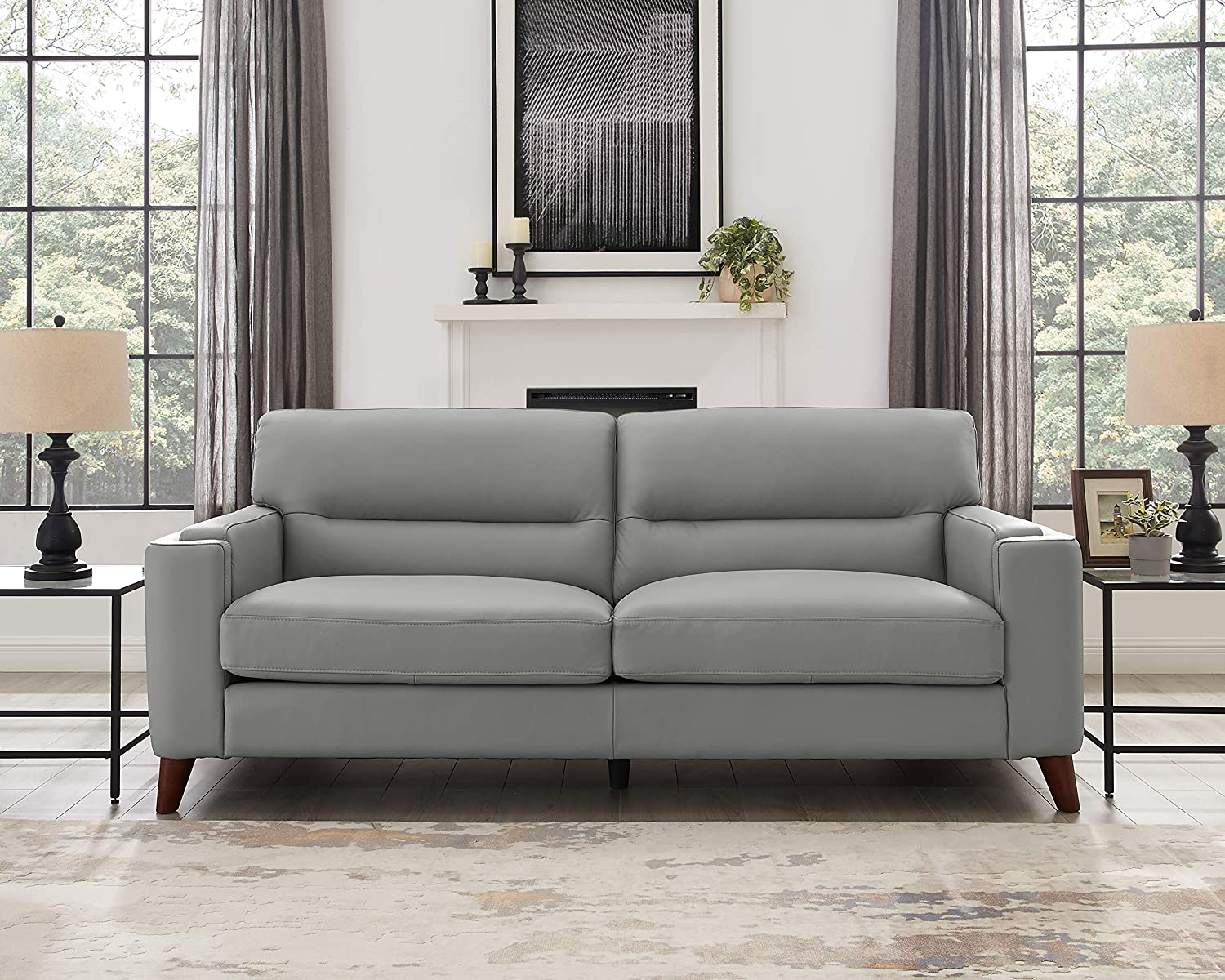 Hydeline Elm 100% Leather Set, Sofa, Loveseat and Chair, Silver Gray