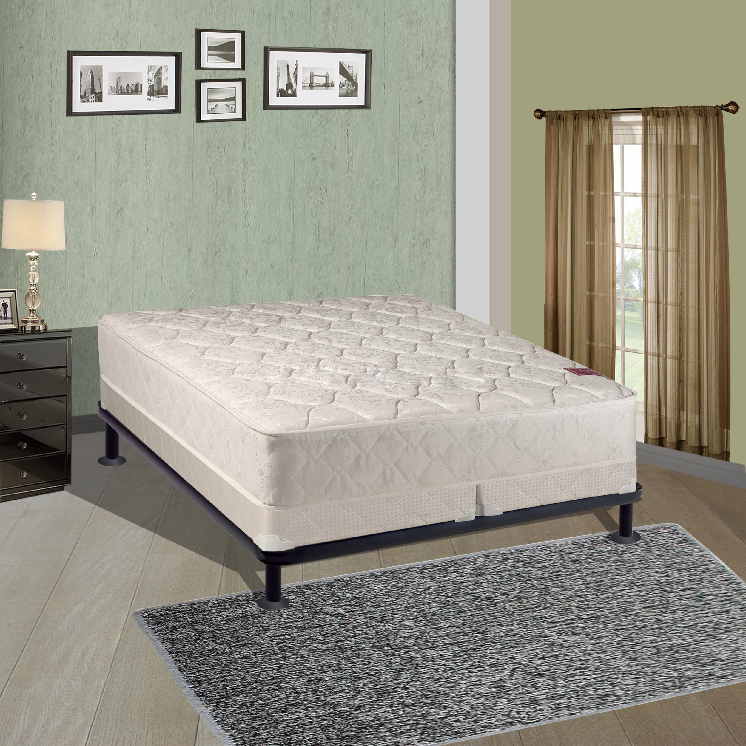 Spring Solution Mattress, 9-Inch Fully Assembled Orthopedic Back Support Full Mattress and 4-inch Split Box Spring With Bed Frame,Hollywood Collection