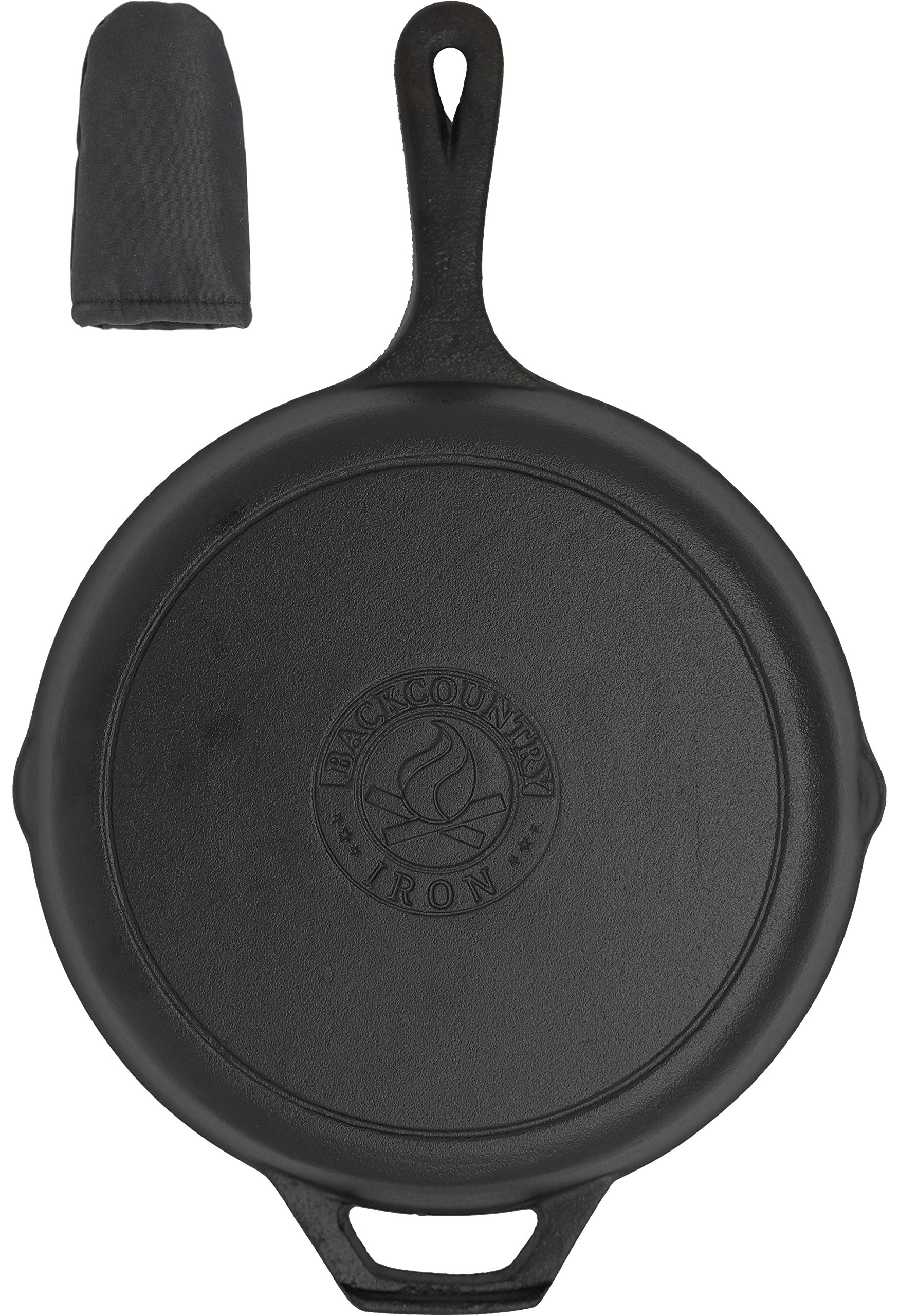 Backcountry Cast Iron Skillet(10 Inch Medium Frying Pan + Cloth Handle Mitt, Pre-Seasoned for Non-Stick Like Surface, Cookware Oven / Broiler / Grill Safe, Kitchen Deep Fryer, Restaurant Chef Quality)