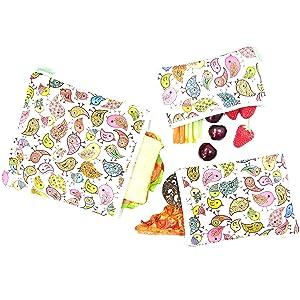 Wegreeco Reusable Sandwich & Snack Bags - Set of 3 - (Lovely Bird)