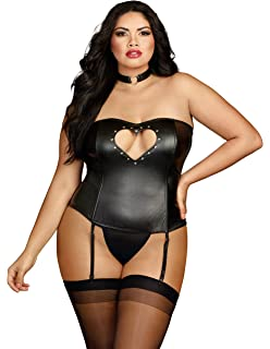 e1e9c7f0ca Dreamgirl Plus Faux Leather Bustier With Heart Cutout Attached Garters and  Matching Thong
