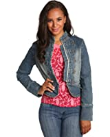 Sweet Vibes Junior Women Cropped Denim Jackets Double Breasted Embroidery Stitch
