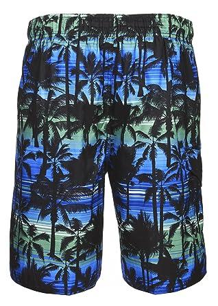1d57e259ce6e LAGUNA Mens California Palm Stripe Boardshort Swim Trunks Bathing Suits Blue  Combo Medium