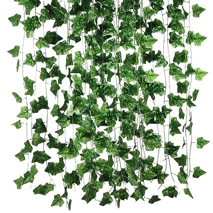 12 Pcs Set Artificial Plants Leaves Green Rattan Ivy Leaf Simulation Plant Garland Flowers Home Garden Store Wedding Decor Festive & Party Supplies Home & Garden