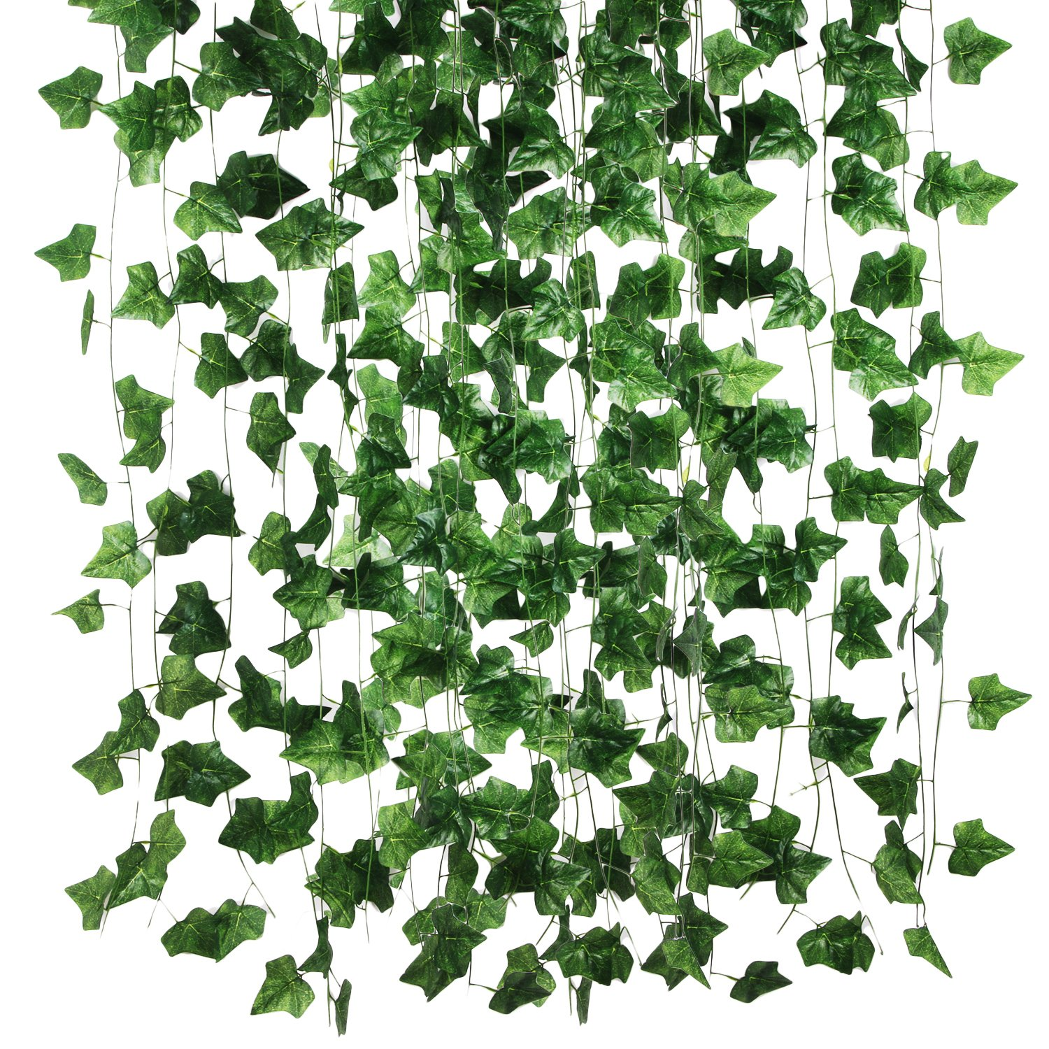 Hecaty 87 Feet-12 Pack Artificial Ivy Large Leaf Garland Plants Vine for Hanging Wedding Garland Fake Foliage Flowers Home Kitchen Garden Office Wedding Wall Decor(Large Size)