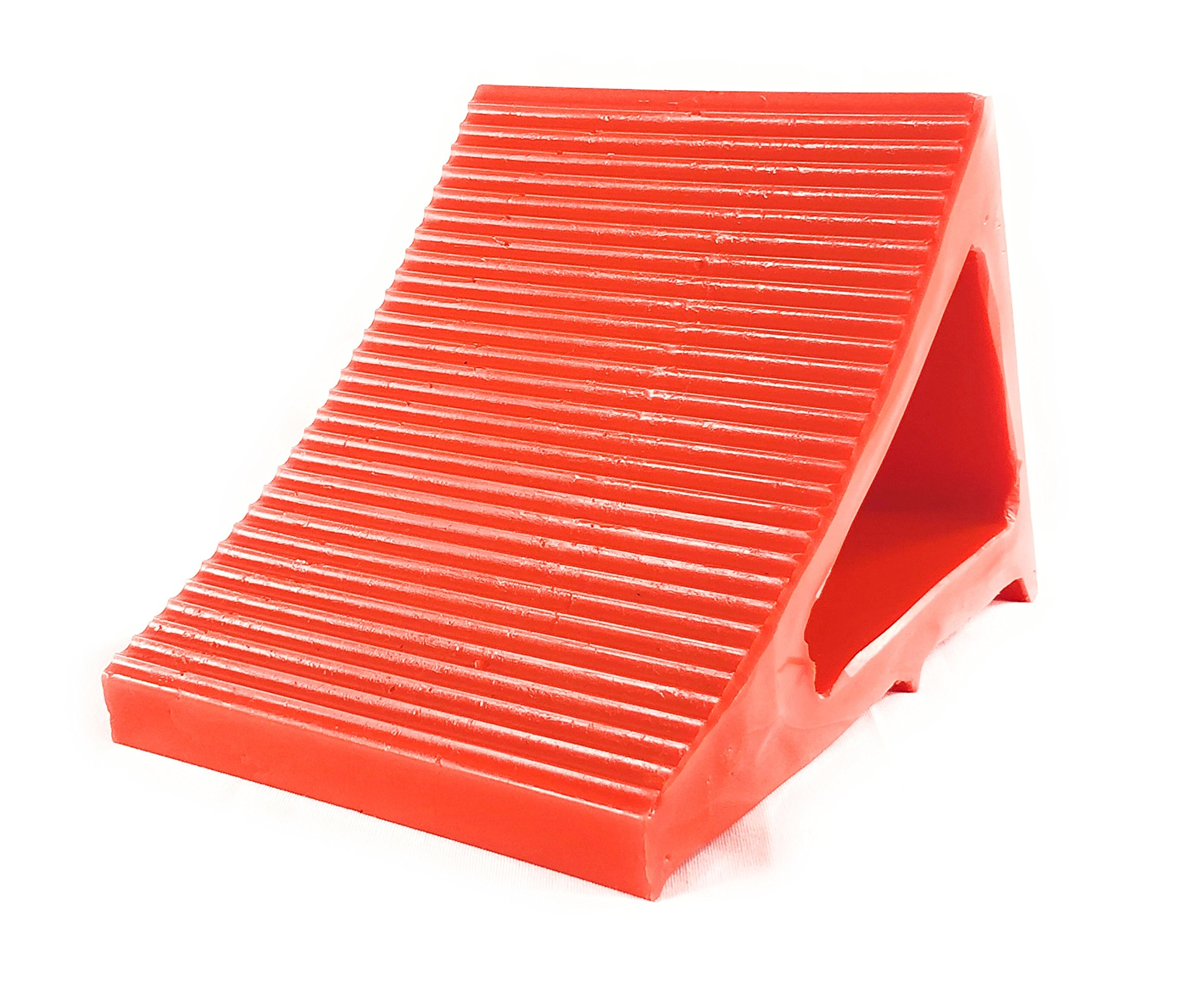 Elasco Wheel Chock, Weatherproof, Outdoor Grade, Polyurethane better than Rubber or Plastic, Keeps Your Trailer or RV In Place, 5 Year Warranty (2 Pack, Orange) by Elasco Products (Image #3)