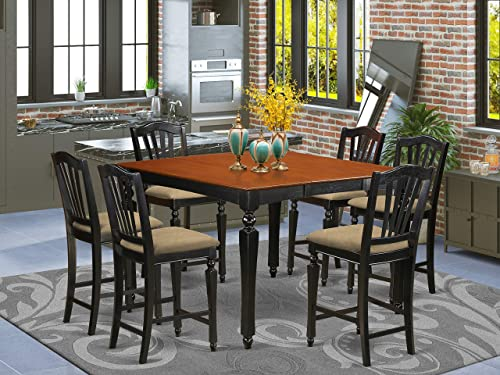 7 Pc Counter height Table set-Square pub Table and 6 counter height Chair