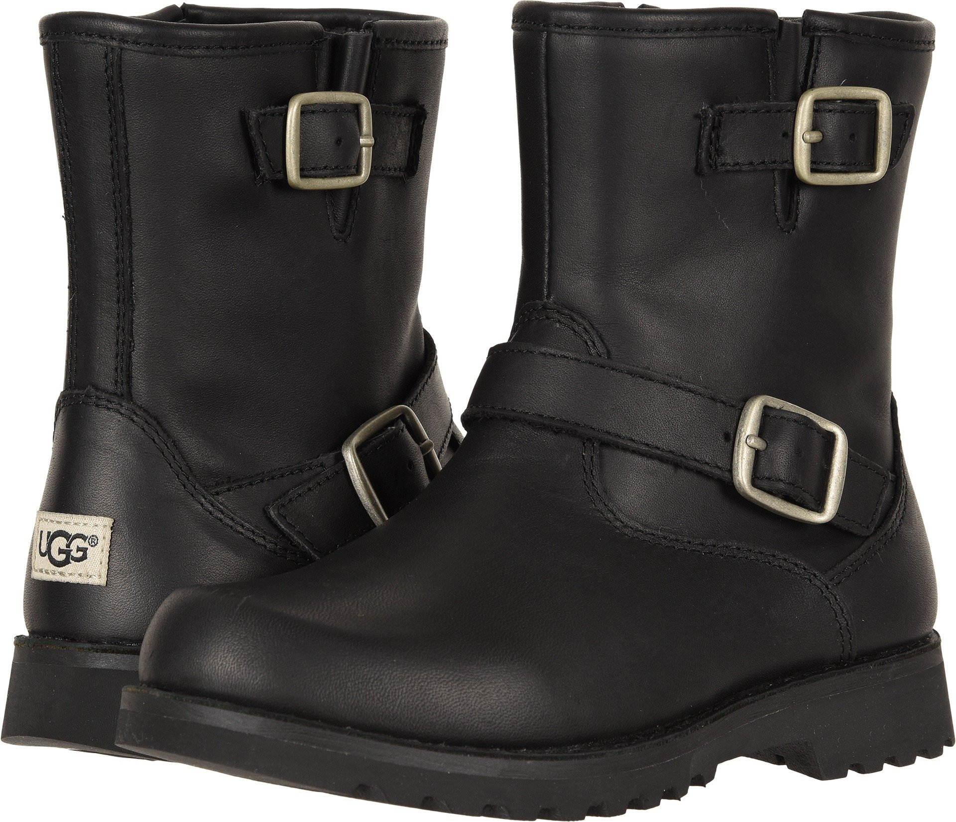 UGG Unisex-Kids K Harwell Motorcycle Boot, Black, 4 M US Big Kid