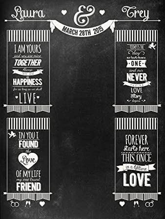 Custom Chalkboard Wedding Event Backdrop 6x8 For Photo Booth Or Engagement Party