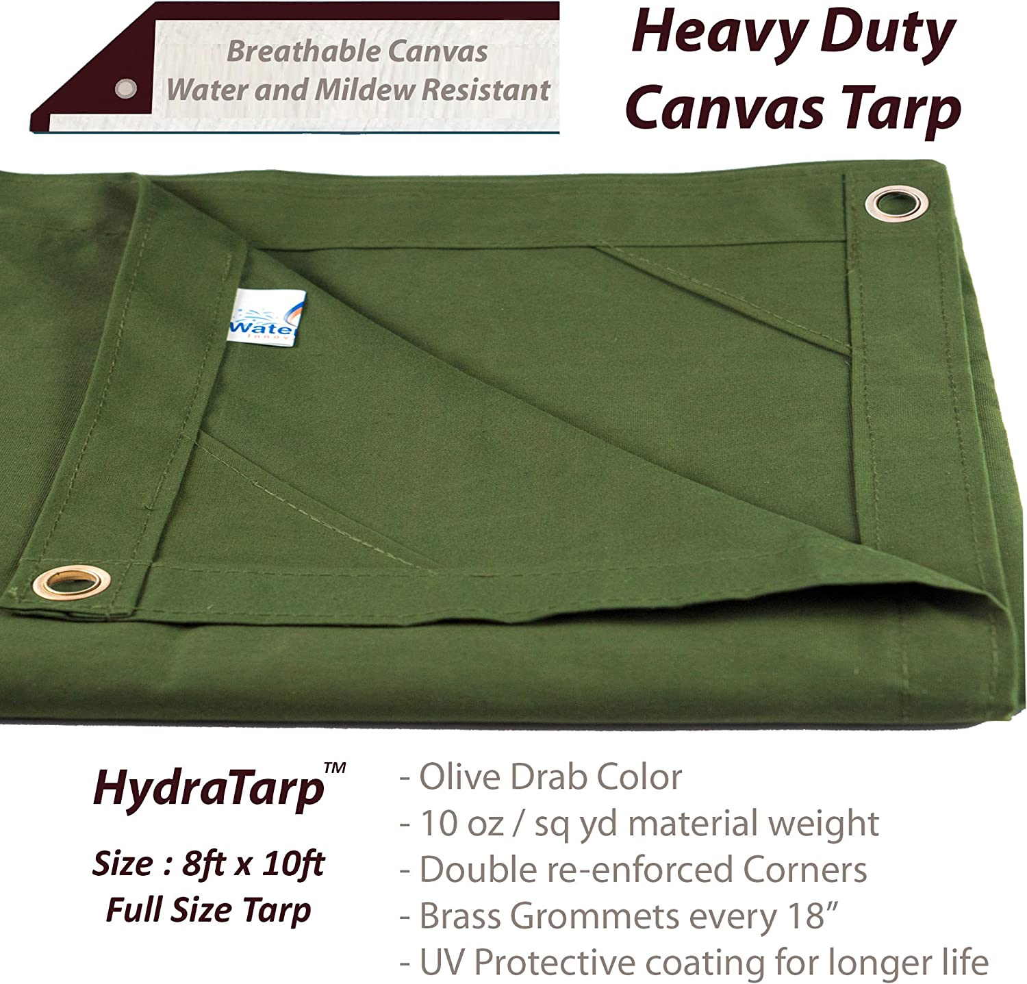 HydraTarp Canvas 6 Ft. X 8 Ft. Olive Drab Tarp - 10oz Weight