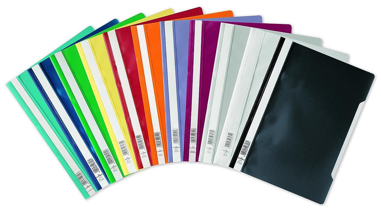 conf Cartellina ad aghi Clear View f.to A4 fronte trasparente e retro colorato etichetta longitudinale da 50 pezzi blu DURABLE 257307