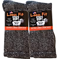 Loose Fit Stays Up Marled Merino Wool Men's and Women's Sock 2 Pack