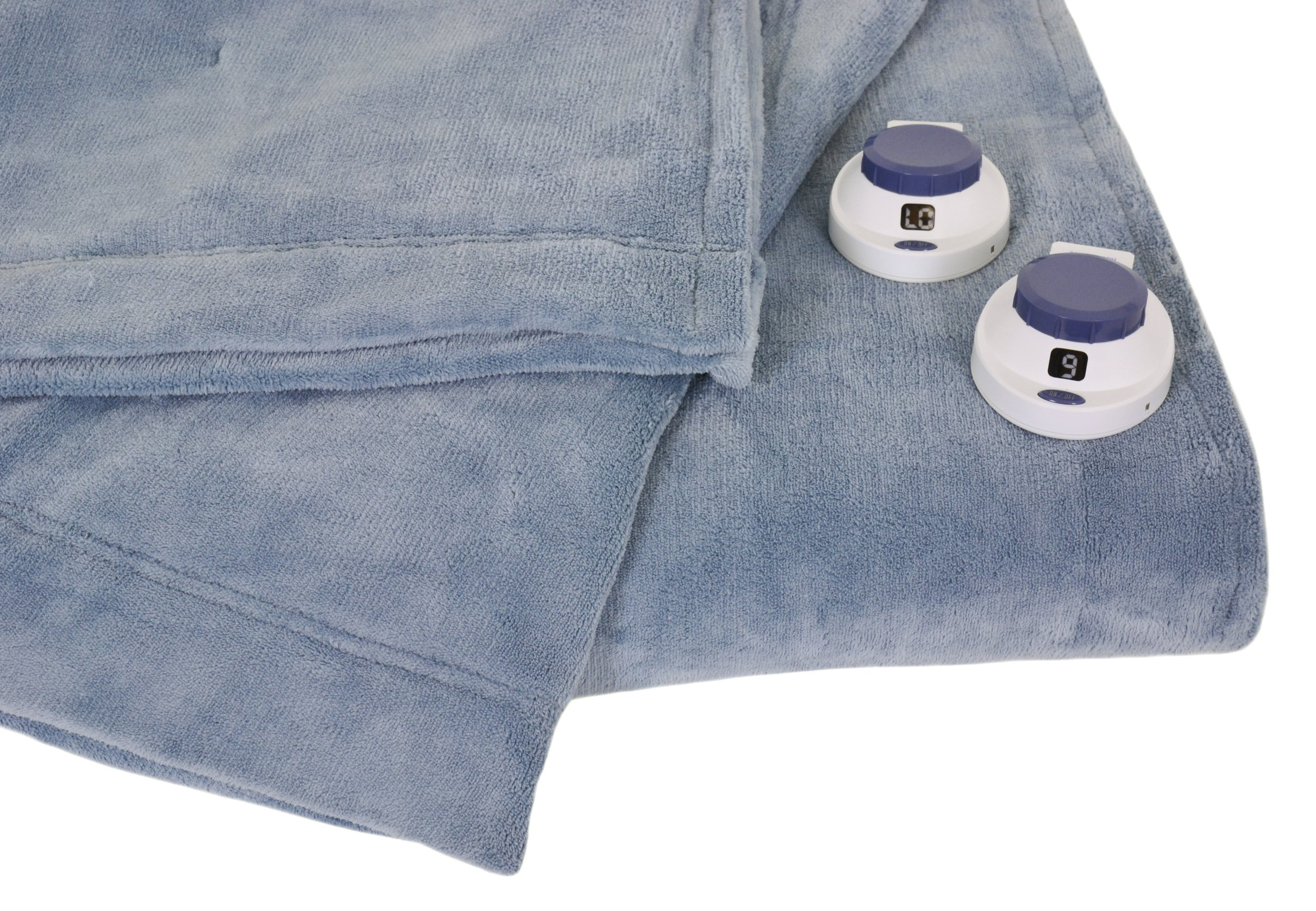 Serta Luxe Plush Low-Voltage Electric Heated Micro-Fleece Blanket, King, Sapphire