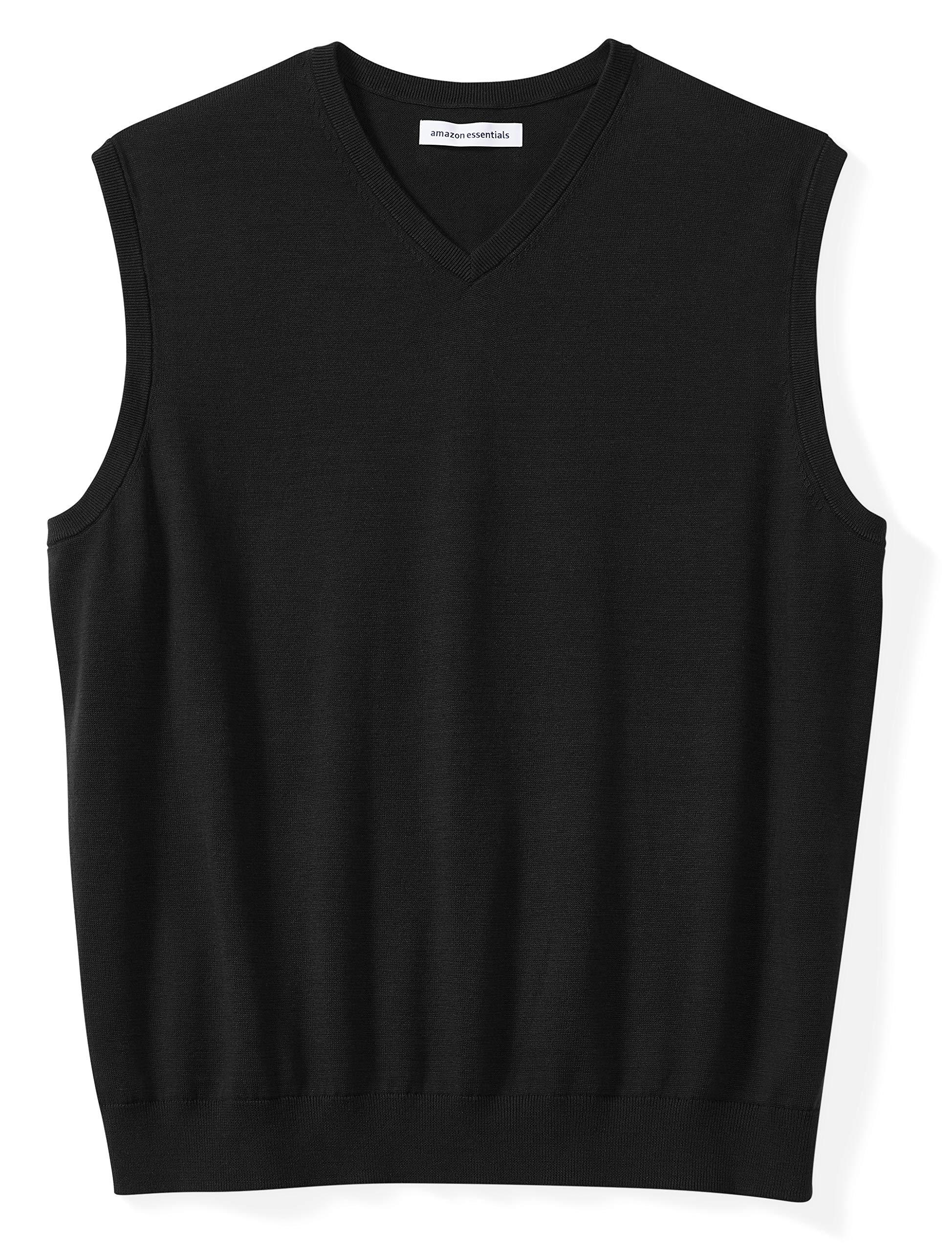 Amazon Essentials Men's Big & Tall V-Neck Sweater Vest, Black, 2X Tall by Amazon Essentials