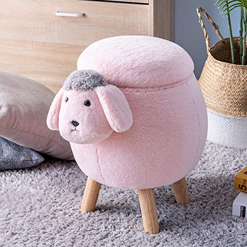 Mooseng Furnishing Storage Footrest Cube Footstool Seat Chair Small Ottoman Stool Shape Toys with Vivid Adorable Animal-Like Features, Pink