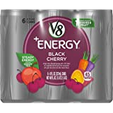 V8 +Energy Black Cherry Vegetable & Fruit Juice, 6 Count (Pack of 4) (Packaging May Vary)