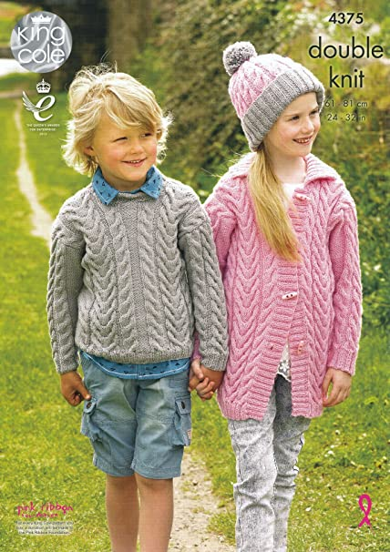 14c42cd19 Image Unavailable. Image not available for. Colour  King Cole Girls   Boys  Double Knitting Pattern Cable Knit Sweater   Cardigan ...