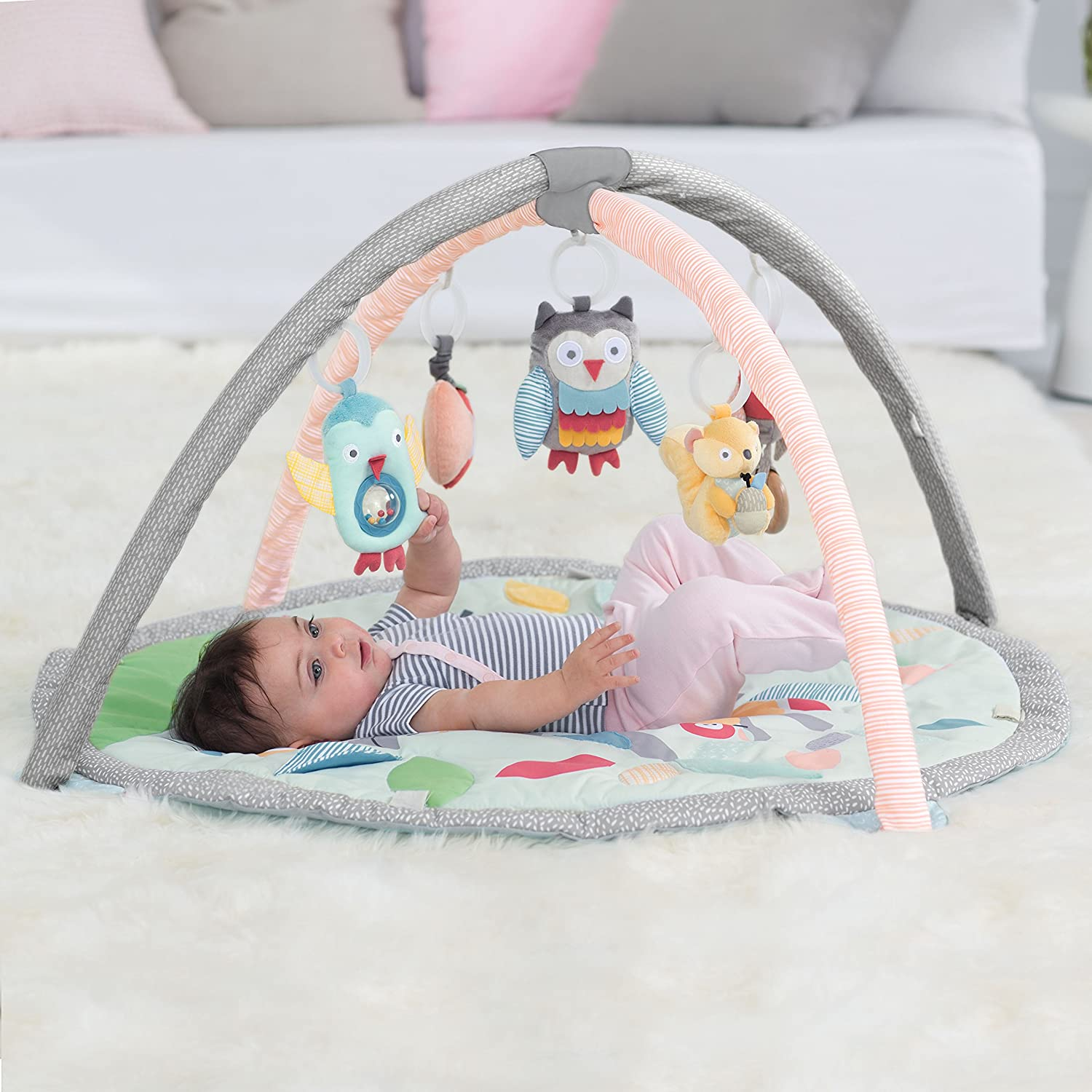 Skip Hop Baby Treetop Friends Activity Gym Playmat, Grey Pastel