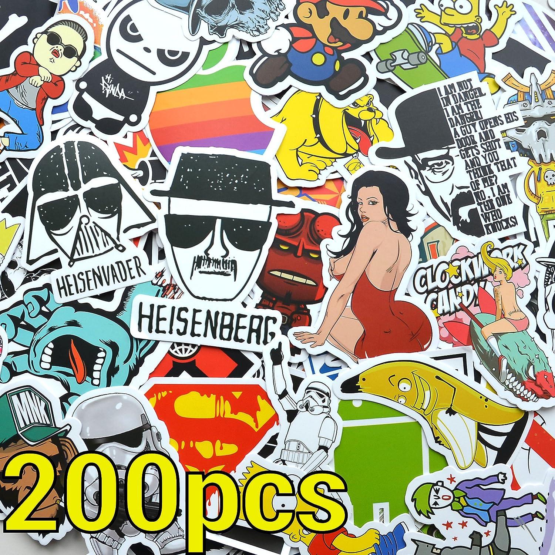 200 Stü ck Aufkleber! 200pcs Stickers fü r Auto, Skateboard, MacBook, Quad etc. Sticker Set individuell - King Mungo KMST004 KingMungo
