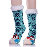 LANLEO Womens Cute Cartoon Animal Fuzzy Slipper Socks Winter Soft Warm Fleece Lining Knit Home Socks With Grippers