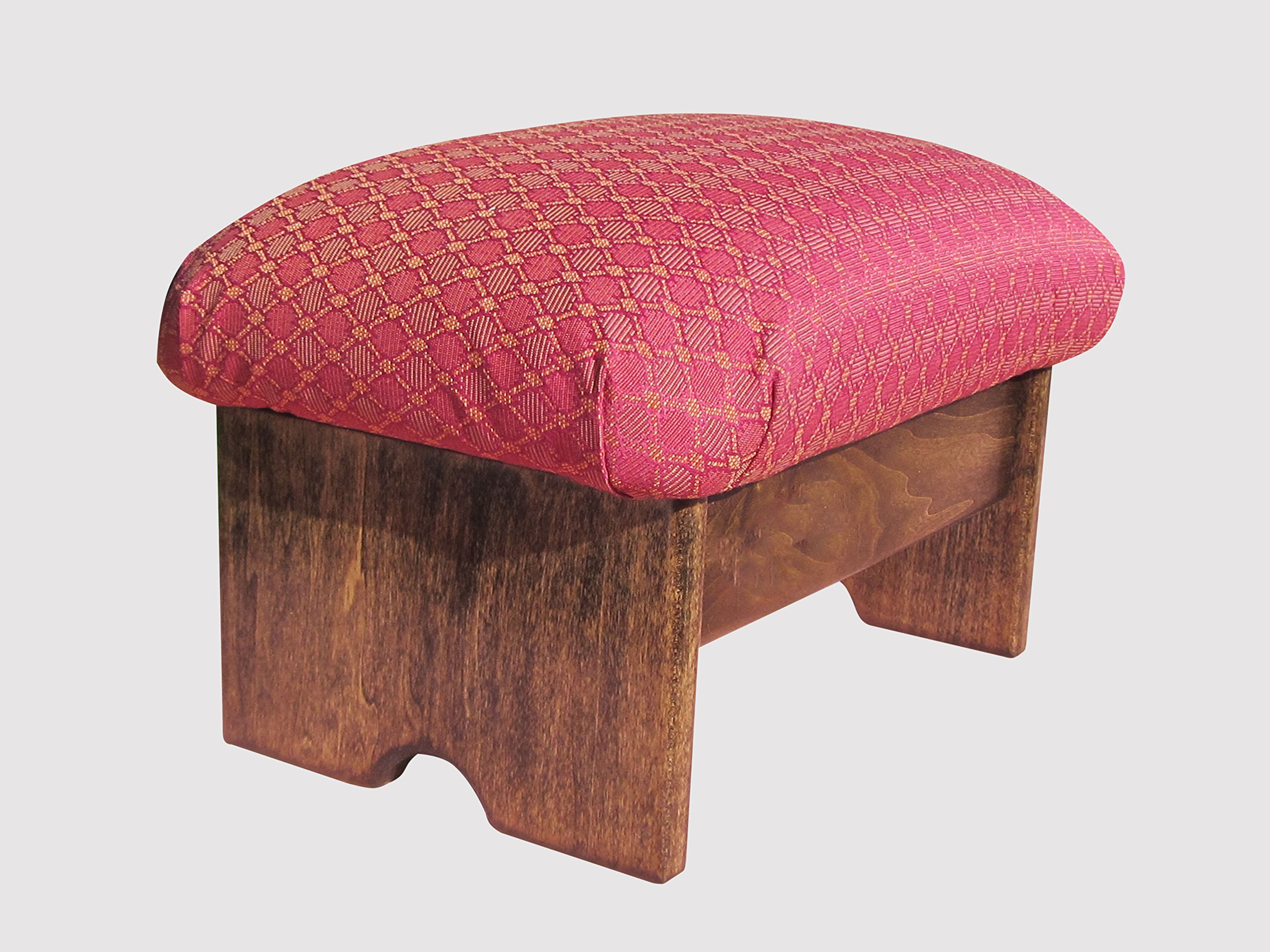 Padded Foot Stool, Ruby Red (Made in the USA) (Walnut Stain - 9'' Tall)
