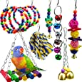 7 Packs Bird Swing Chewing Toys-Parrot Hanging Bell Cage Hammock Toy Parrot Cage Toy Bird Perch with Wood Beads Hanging, Rope Perch, Birdcage Stands for Parakeets Cockatiels, Conures, Macaw, Parrot