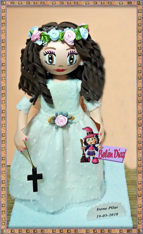 Fofucha muñeca artesanal de primera comunión niña 22 cms.
