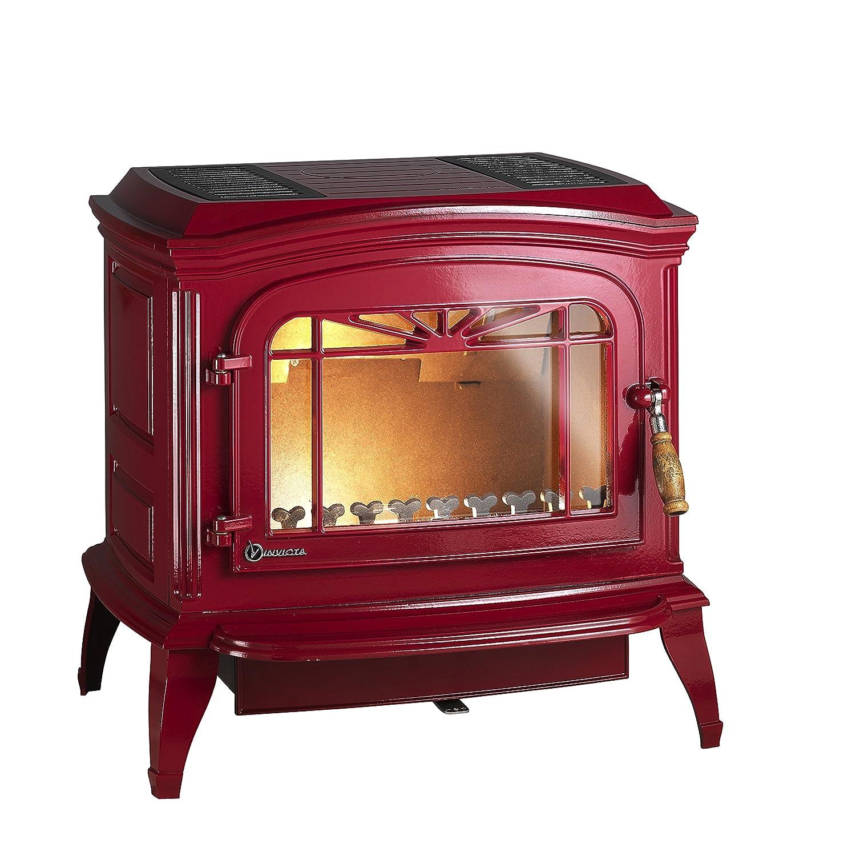 Invicta Bradford 6173-47 Estufa de leña, en hierro fundido; potencia 12 kW, color rojo esmaltado: Amazon.es: Grandes electrodomésticos