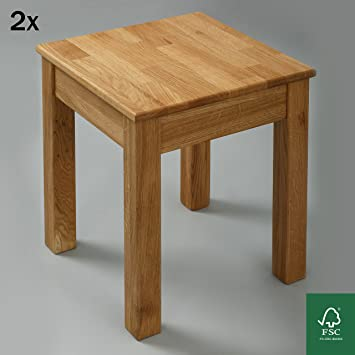 2 X Esszimmer Stuhl Massivholz Eiche FSC 100% Tomas 35x35x45 Cm Hocker