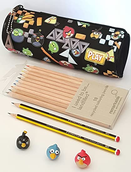 Angry Birds Estuche + 3 x Angry Bird Toppers y lápices ...