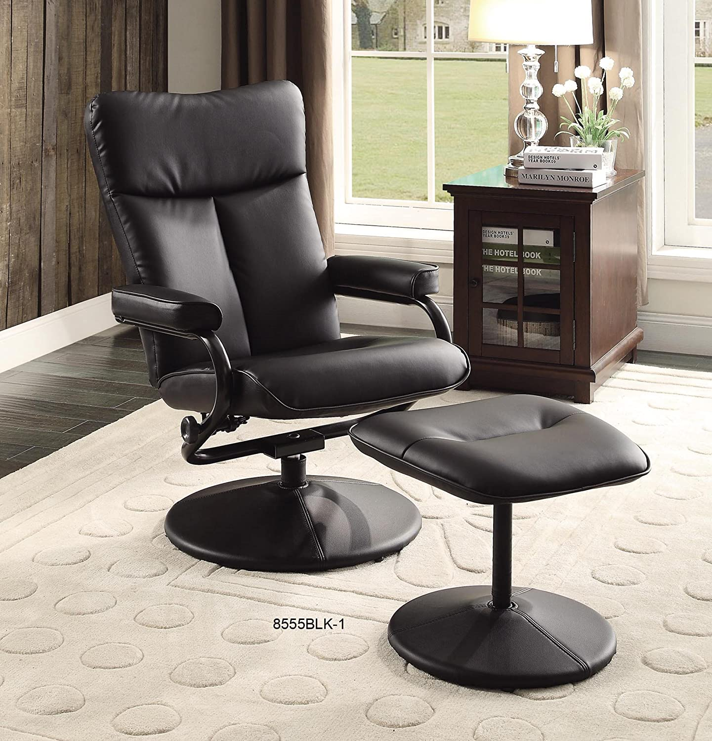 Amazon.com Homelegance 8555WHT-1 Swivel Reclining Chair with Ottoman White Bonded Leather Match Kitchen u0026 Dining & Amazon.com: Homelegance 8555WHT-1 Swivel Reclining Chair with ... islam-shia.org