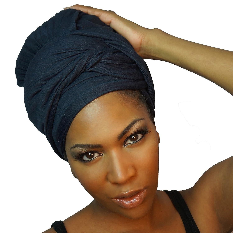 The Urban Turbanista Headwraps & Turbans Stretch Jersey Knit Head Wraps | 18 Colors SW-black