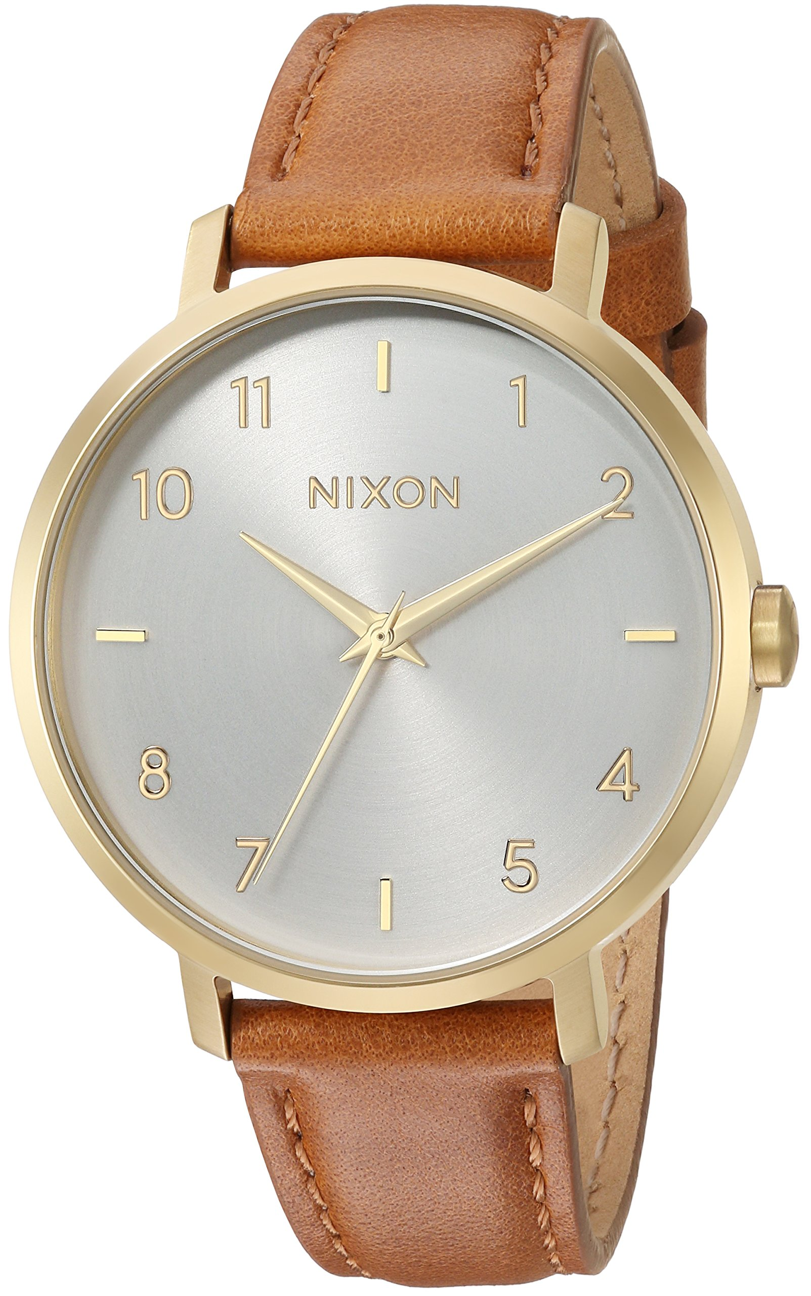Nixon Women's 'Arrow Leather' Quartz Stainless Steel Casual Watch, Color:Brown (Model: A10912621-00)