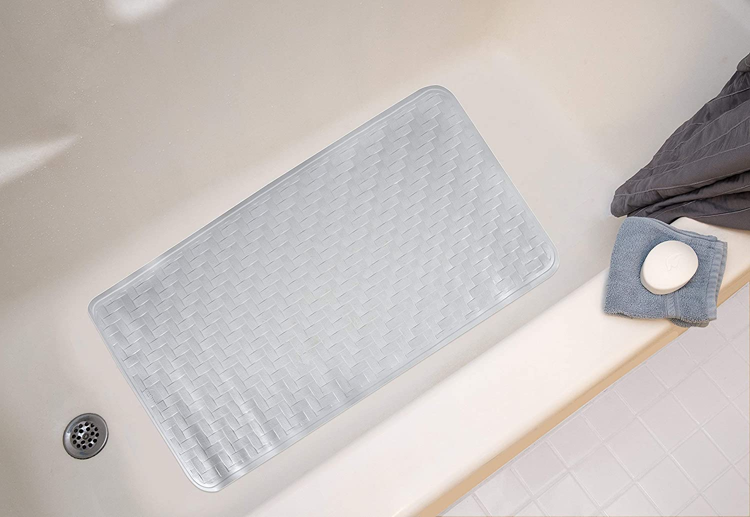37901 Extra Large 18 x 36 Extra Large 18/' x 36/' Ginsey Industries Inc Ginsey Home Solutions AquaTouch Rubber Safety Bath Mat